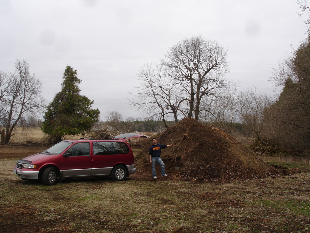 large pile of composted horse manure