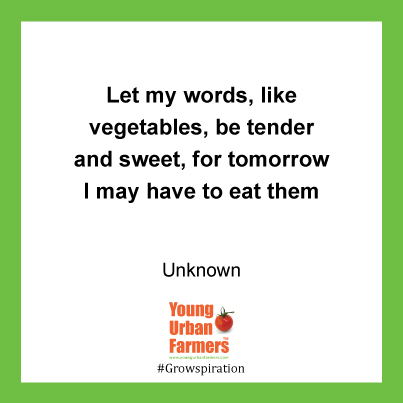 Let my words, like vegetables, be tender and sweet, for tomorrow I may have to eat them - Author Unknown