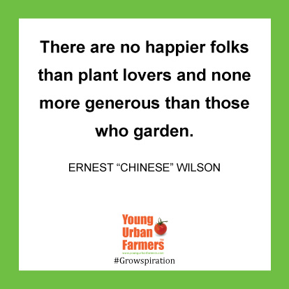 "There are no happier folks than plant lovers and none more generous than those who garden. -Ernest ""Chinese"" Wilson"