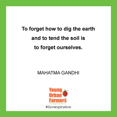 """To forget how to dig the earth and to tend the soil is to forget ourselves."" - Mahatma Gandhi"
