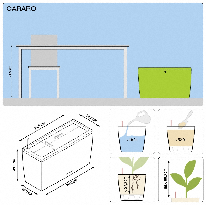 cararo planter specifications