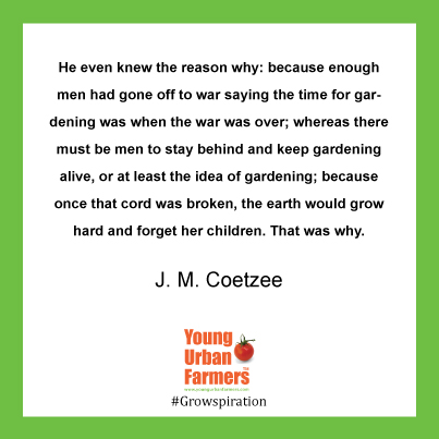 """He even knew the reason why: because enough men had gone off to war saying the time for gardening was when the war was over; whereas there must be men to stay behind and keep gardening alive, or at least the idea of gardening; because once that cord was broken, the earth would grow hard and forget her children. That was why."" J.M. Coetzee, Life and Times of Michael K"